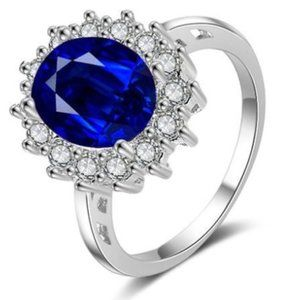 Sterling Silver Sapphire Cubic Zironia Ring
